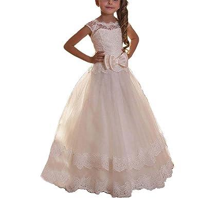 62441f626a2 KekeHouse Prinzessin Spitze Elfenbein Blumenmädchenkleider Tüll  Brautjungfern Mädchen Festkleid Kinder Kleid Kommunionkleid  Geburtstagskleid Weiß Alter 12
