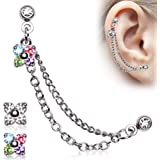 316L Surgical Steel Flower CZ Double Chained Cartilage Earring (Sold Individually)
