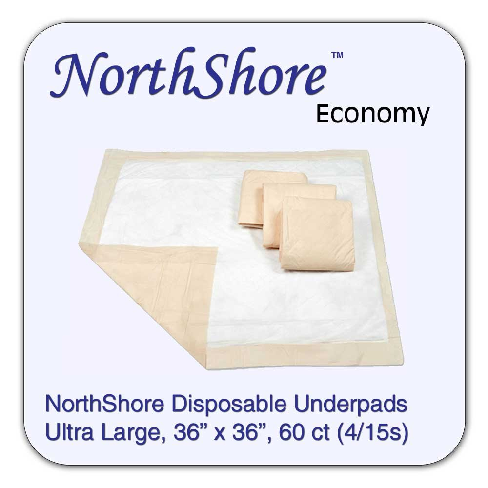 Amazon.com: NorthShore Economy, 36 x 36, 28 oz., Beige Disposable Underpads (Chux), Ultra Large, Case/60 (4/15s): Health & Personal Care