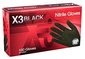 AMMEX - BX344100-BX - Nitrile Gloves - Disposable, Powder Free, Latex Free, 3 mil, Food Safe, Medium, Black (Box of 100)