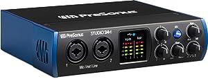 PreSonus Studio 24c 2x2, 192 kHz, USB-C Audio Interface, 2 Mic Pres-2 Line Outs/New Version