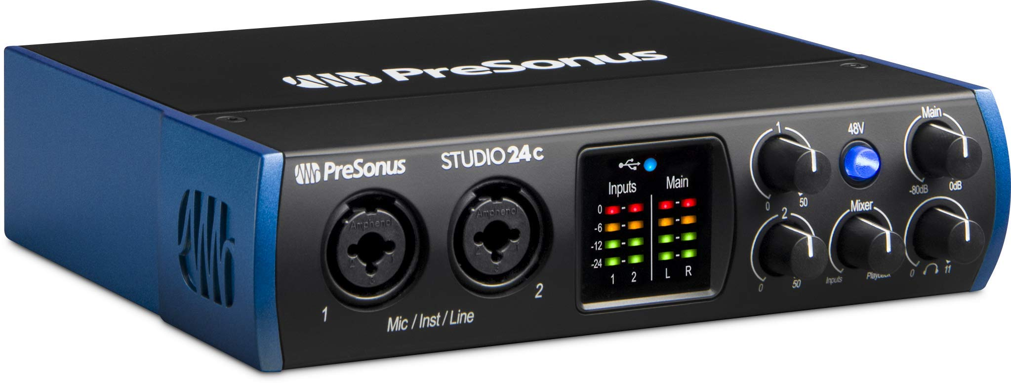 PreSonus Studio 24c 2x2, 192 kHz, USB-C Audio Interface, 2 Mic Pres-2 Line Outs