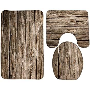 Wondertify Bath Mat,Wood,Rustic Old Barn Wood Bathroom Carpet Rug,Non
