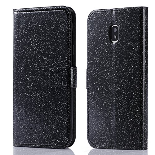 Samsung Galaxy J7 (2017) J730 (European Version) Leather Case, Scheam Diamond 3D Bling Glitter Case Sparkly Cover Wallet Case Card Slots Kickstand Magnetic Closure Flip Cover Protective Case Black Fp Diamond Shock