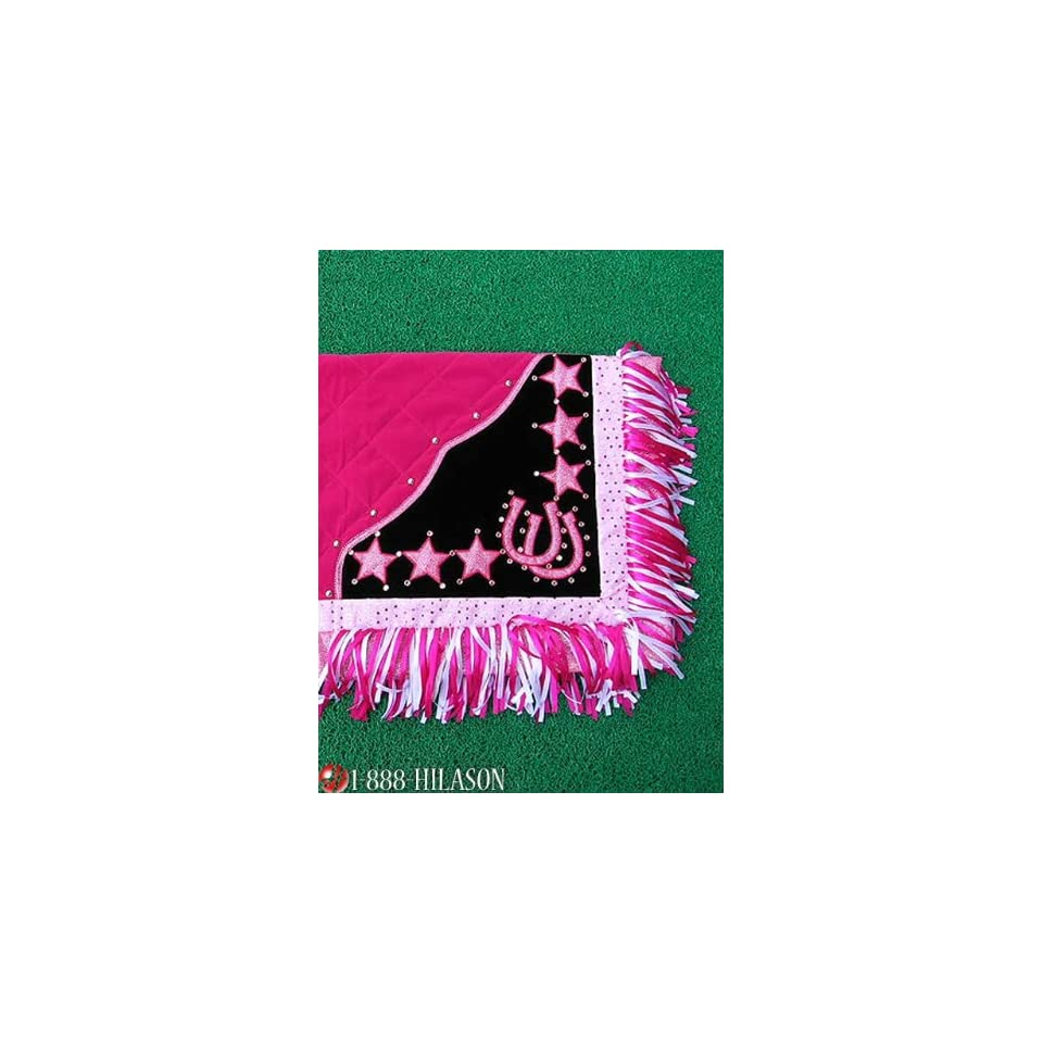 Blanket Pink Body Pink Border Horse Shoes & Star Design White And Pink Fringes