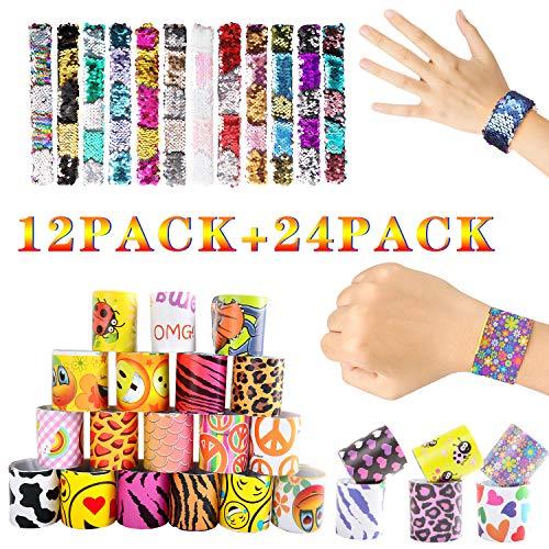 M SANMERSEN 36 Pcs Slap Bracelets, 24 Designs Slap Bracelets + 12 Reversible Sequin Mermaid Bracelets Party Favors for Kids Toys for Girls Xmas Gifts