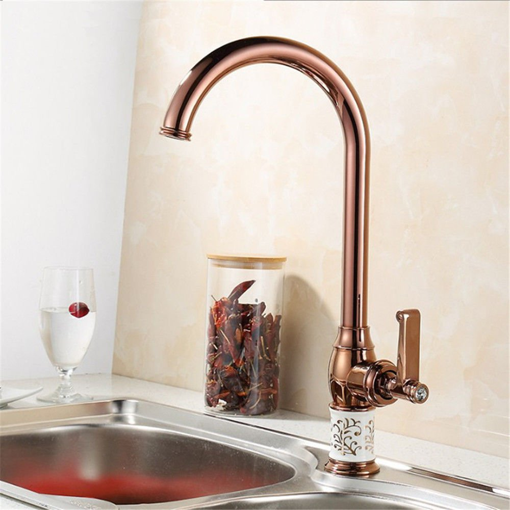 ETERNAL QUALITY Bathroom Sink Basin Tap Brass Mixer Tap Washroom Mixer Faucet The copper kitchen faucet gold tap water to wash dishes basin mixer mixing of hot and cold w