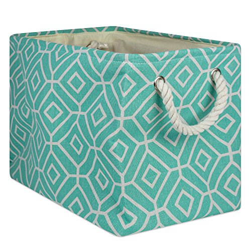 DII Collapsible Polyester Storage Basket or Bin with Durable Cotton Handles, Home Organizer Solution for Office, Bedroom, Closet, Toys, and Laundry, Medium - 16 x 10 x 12, Stained Glass Aqua by DII