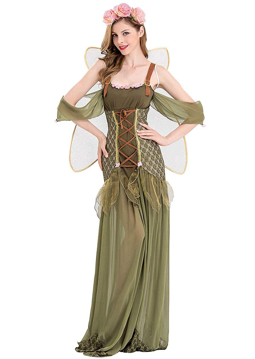 XSHUN Women Green Flower Fairy Costumes Halloween Cosplay Green Elf Costume