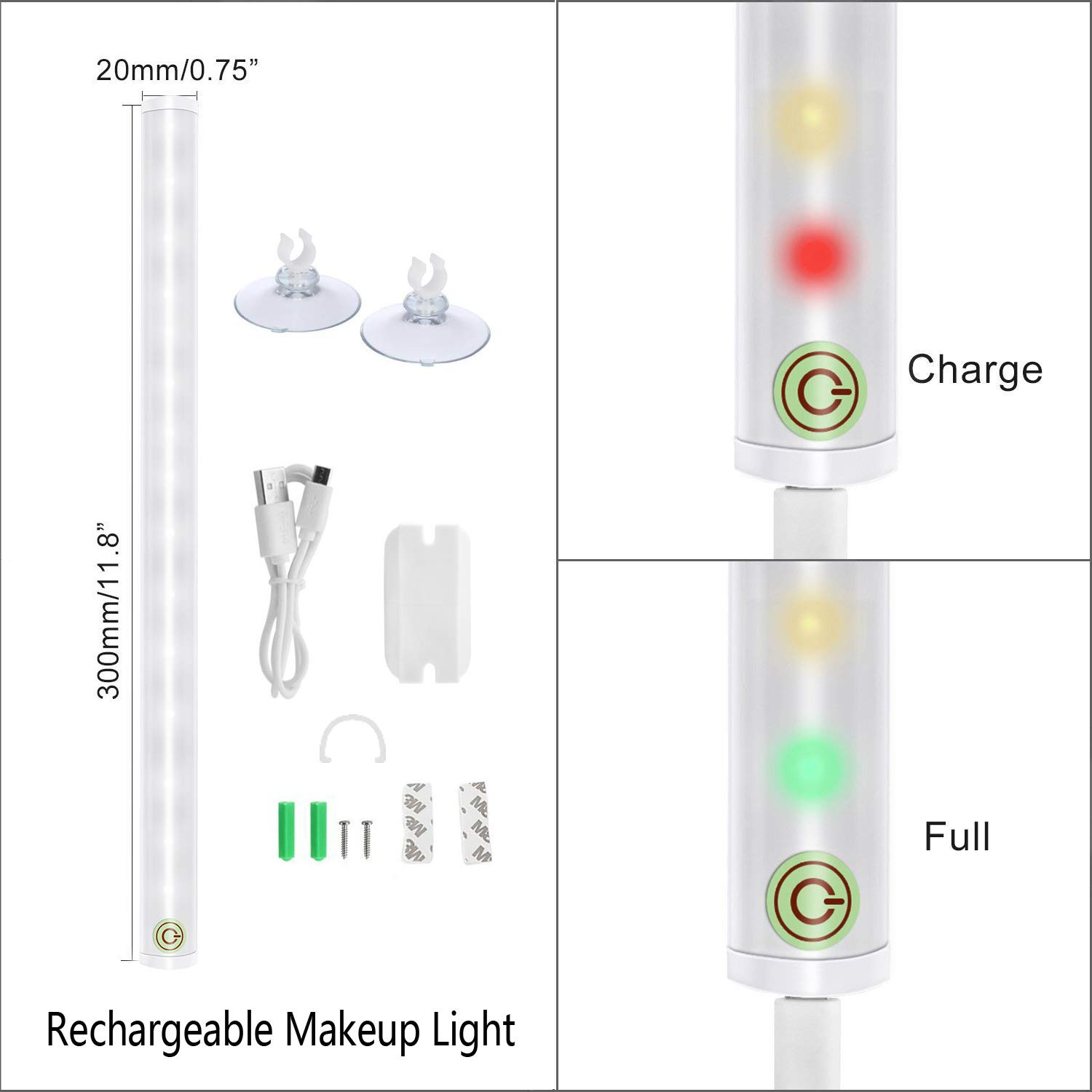 Portable Vanity Lights 4 Brightness Level Touch Control Rechargeable Simulated Daylight Wireless LED Mirror Lights Makeup Lights Includes Makeup Brushes shenzhenshiwenyuedianzishangwuyouxiangongsi