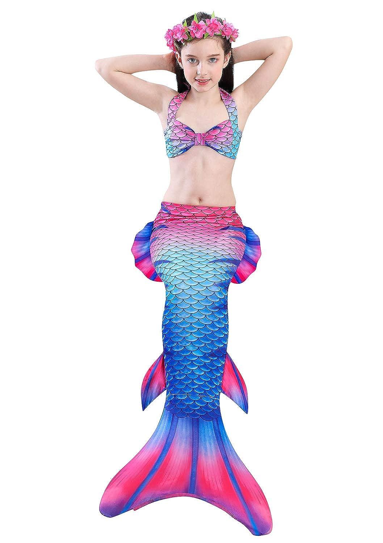 SSara Sirena Cosplay Traje de ba/ño de Shell con Headwear Sirena de la Cola no Aleta Le
