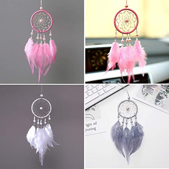 Amazon.com: Jewh Handmade Dream Catcher Pendant Mini Car Ornaments Innovative Gifts Wind Chimes Dreamcatcher Natural Feathers Wall Hanging Decor (Pink): ...
