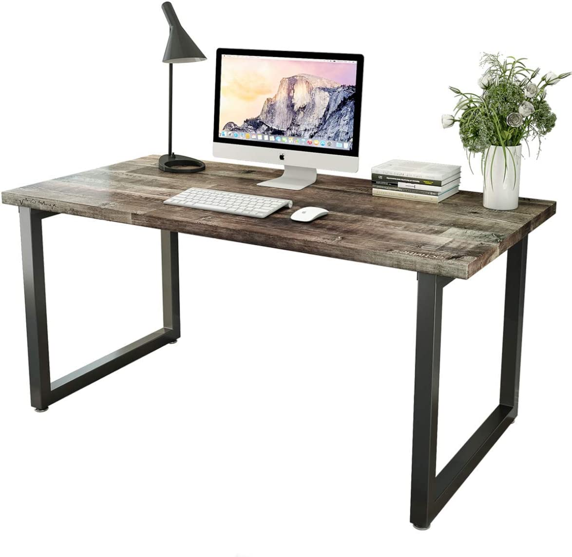 Patavinity Real Wood Computer Desk, 47in Rustic Wood and Metal Writing Desk, Sturdy PC Study Table for Home Office (47'' W x 23'' D x 29 H'', Pine Wood Desktop with Water-Proof PVC Cover, Rustic)