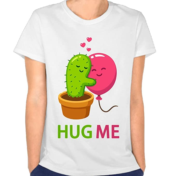 e203437dc9fa08 Amazon.com  KingFong Cactus Hug Me 0 Neck Short Sleeve T Shirts for ...