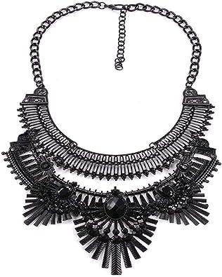 Women Antique Silver Vintage Metal Fashion Choker Necklace Dressy Bohemian Style