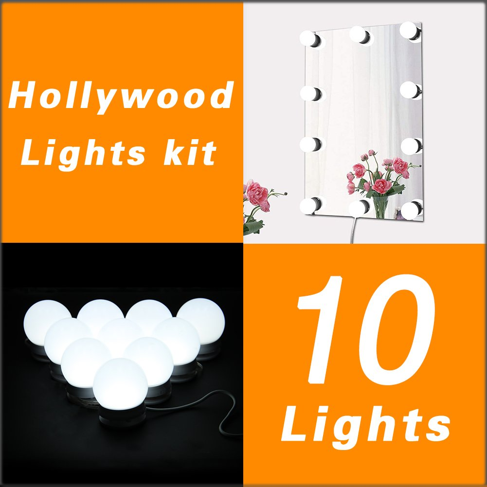 New Version Hollywood Style LED Vanity Mirror Lights Kit for Makeup Dressing Table Vanity Set Lighted Mirrors with Dimmer and Power Supply Plug in Lighting Fixture Strip, 10 Bulbs, Mirror Not Included