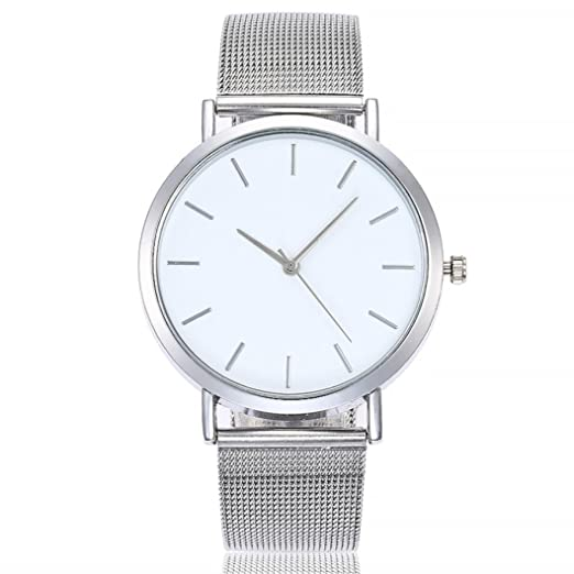 Logobeing Reloj de Pulsera Analógico Con Banda de Acero Inoxidable Moda Relojes Niña Reloj de Pulsera Clásico Para Mujer Hombres Joyería Señora (Plateado): ...