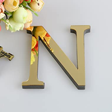 26 Letters DIY Decor 3D Mirror Wall Sticker, FEITONG Decals Home Decor Wall Art Mural (Gold, N)