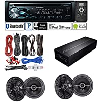 DEH-X4800BT Single DIN In-Dash CD/AM/FM Bluetooth Car Stereo + Pioneer GM-D1004 Digital Amplifier + (2X) Kicker DSC65 (41DSC65)6.5 2-Way D-Series Coaxial Speakers Pair + Amplifier Kit