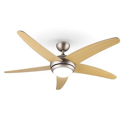 Klarstein Bolero Ventilador de Techo • Lámpara • Aspas de 134 cm diametro • Potencia 55 W en 3 velocidades • 5 aspas Madera de Arce • 2 sentidos de ...
