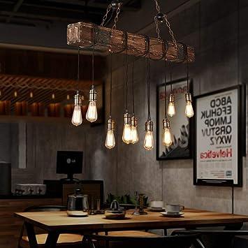 Amazon.com: Lámpara colgante de madera con altura ajustable ...