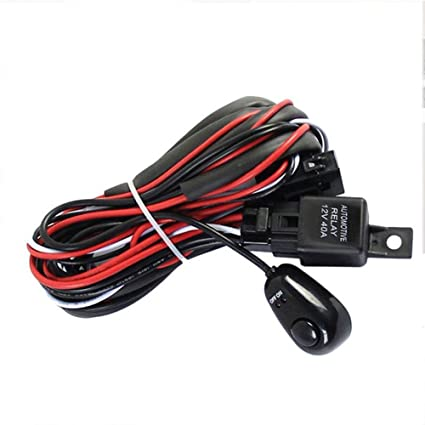 Amazon.com: 12V 40A Relay Wiring Harness Work Fog Light Bar Kit ON/Off  Switch Control Led Spotlight Wiring Harness (Black and red): Car Electronics   Spotlight Universal Wiring Harness      Amazon
