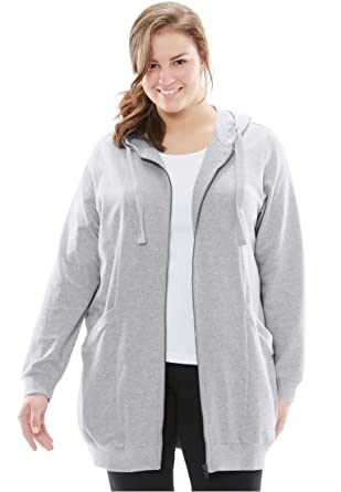 e6d0944c38f Woman Within Plus Size Zip Front Tunic Hoodie at Amazon Women s ...