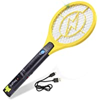 Tregini Electric Fly Swatter - Rechargeable Bug Zapper Tennis Racket Safe to Touch Mesh Net Built-in Flashlight - Kills Insects, Gnats, Mosquitoes Bugs