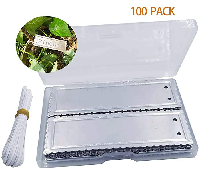 PinCute Aluminum Plant Labels, Metal Plant Tags, Tree ID Tags Durable & Waterproof Pot Label Tag Marker for Indoor Outdoor Gardening Nursery(100 Pack)