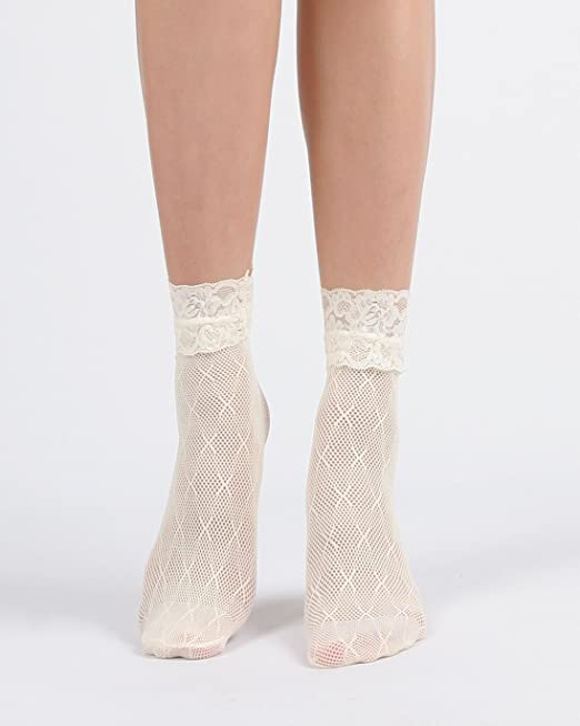 Vintage Socks | 1920s, 1930s, 1940s, 1950s, 1960s History Womens Sexy Lace Ankle Socks $10.90 AT vintagedancer.com