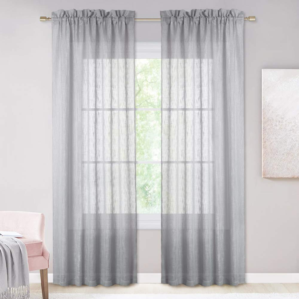 36-in by 36-in, Dark Grey, 2 Panels Soft Textured Linen Look Stylish Farmhouse Curtain with Rod Pocket NICETOWN Swag Sheer Curtain Valances