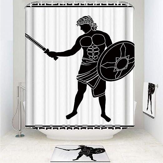 iPrint - Cortina de ducha de tela de poliéster con ganchos ...