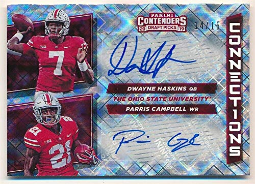 BIGBOYD SPORTS CARDS Dwayne Haskins Parris Campbell 2019 PANINI CONTENDERS RC Diamond Dual AUTO - Diamond Campbell