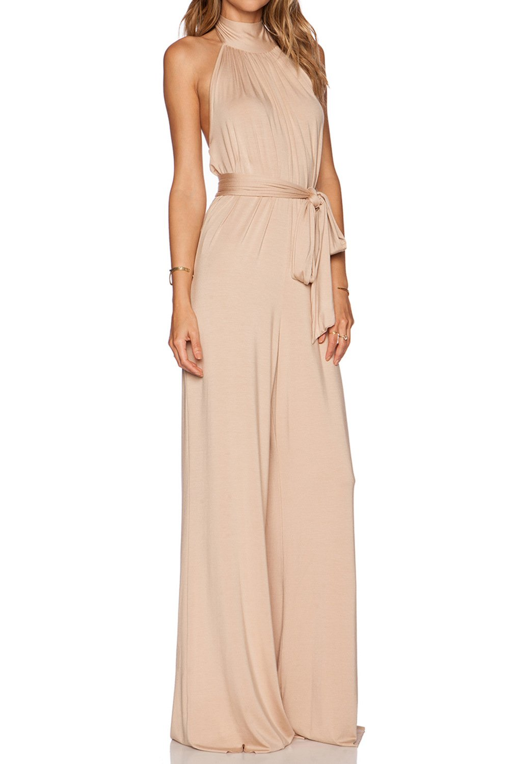 MARSEN Women's Halter Backless Rompers Long High Neck Party Jumpsuits with Belt Nude Size 6 by MARSEN (Image #3)