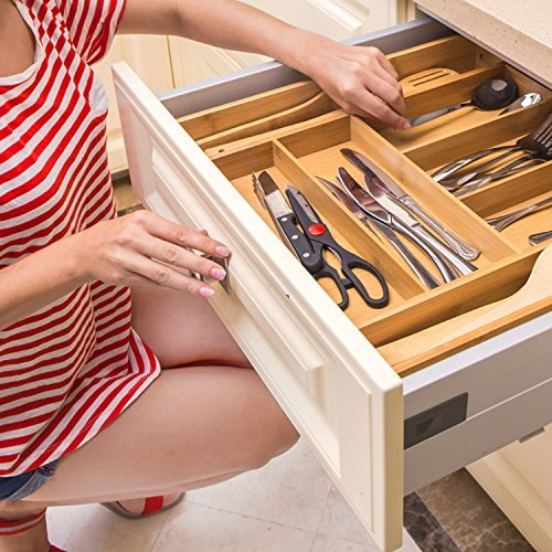 Expandable Cutlery Tray & Drawer Organizer for Silverware,Utensils,Flatware, Kitchen Drawer Storage with Bamboo- by Ecobambu