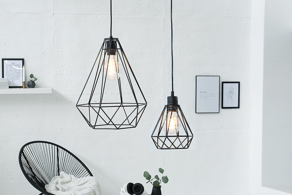 Moderne hängeleuchte cage l schwarz industrial design deckenleuchte