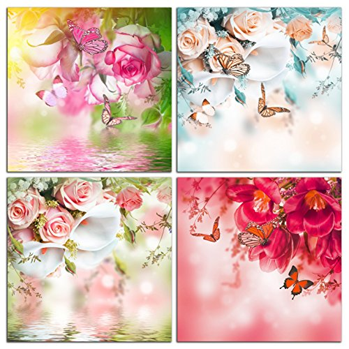 NAN Wind 4 Piece Floral Canvas Wall Art Still Life Rose and butterfly Painting Flower Pictures for Home Decoration Modern Painting Wall Decor Canvas For Gift Piece Ready to Hang ()