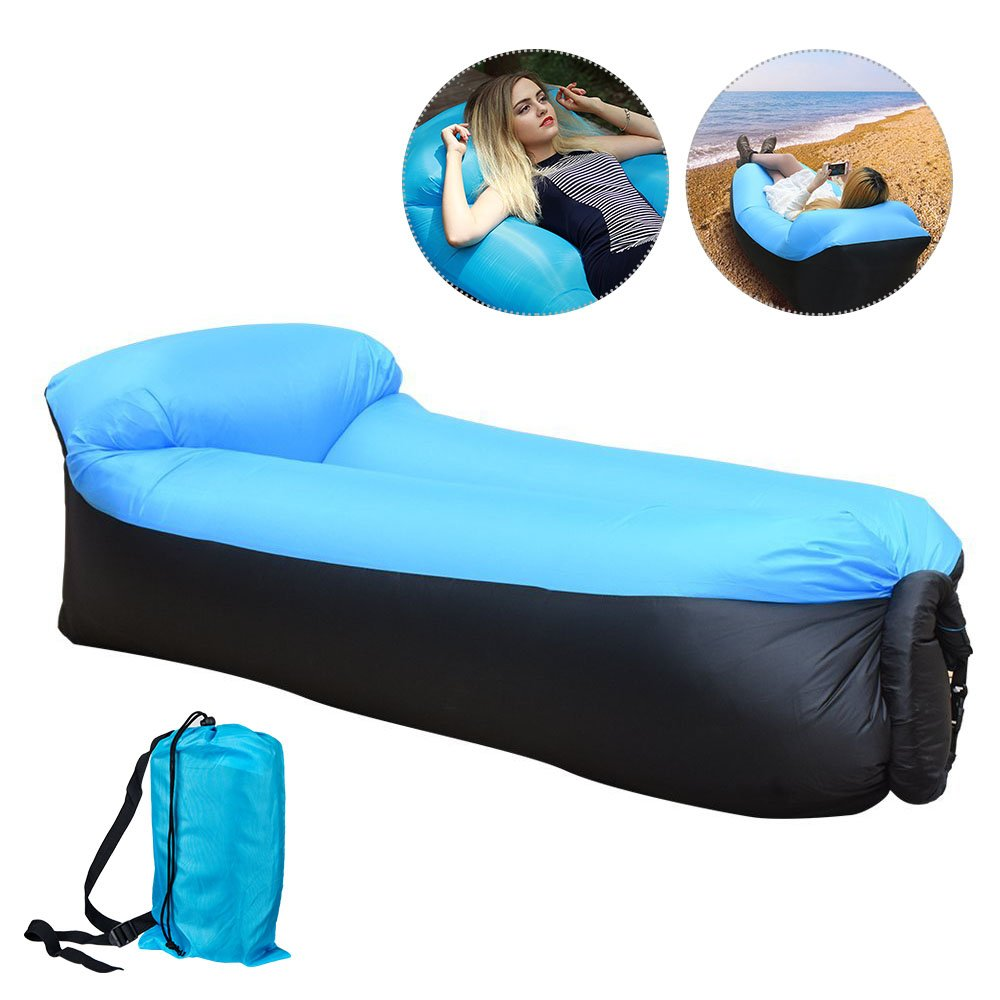 Inflable tumbona sofá TOP-MAX Air colchones Lazy Dormir sofá cama para interior al aire libre Camping senderismo playa piscina parque patio trasero (azul + ...