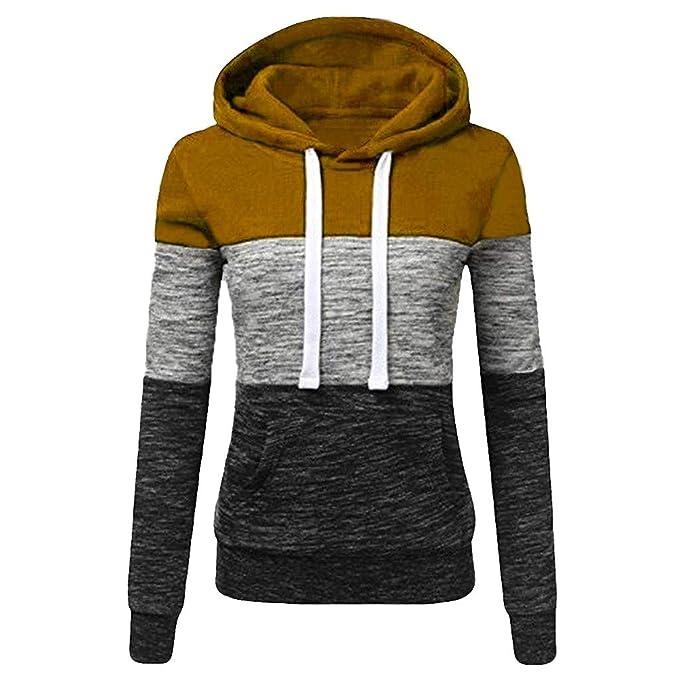 JUTOO 2018 Moda para Mujer Casual Sudaderas con Capucha Sudadera Patchwork para Mujer con Capucha Blusa Pullove: Amazon.es: Ropa y accesorios