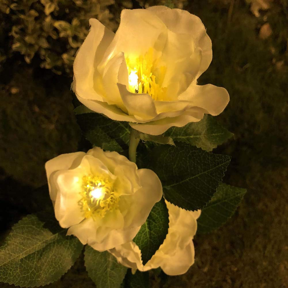 H+K+L Outdoor Solar Backyard Garden Stake Light Solar Powered 3 Camellia Flower Lights for The Trees, Flowers, Fence, Walkway (Yellow)