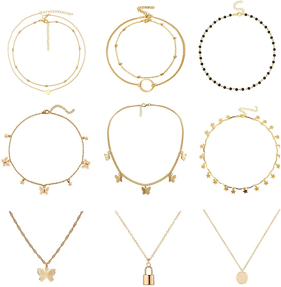 sloong Gold Plating Butterfly Necklace Paperclip Link Chain Butterfly Choker Jewelry Pendant Thin Short for Women Bestfriend with Gift Card