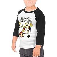 Pimkly ACDC - Camiseta de béisbol de algodón con mangas 3/4 para niños