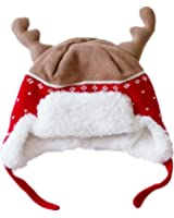 Home Prefer Kids Christmas Hats Cotton Brocade Knit Cap Elk Horn Winter Hat Red
