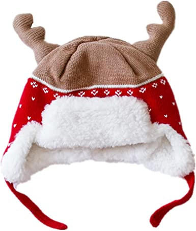 New Cute Unisex Christmas Elk Red Hat Cozy Soft Warm Children Santa Beanie Caps