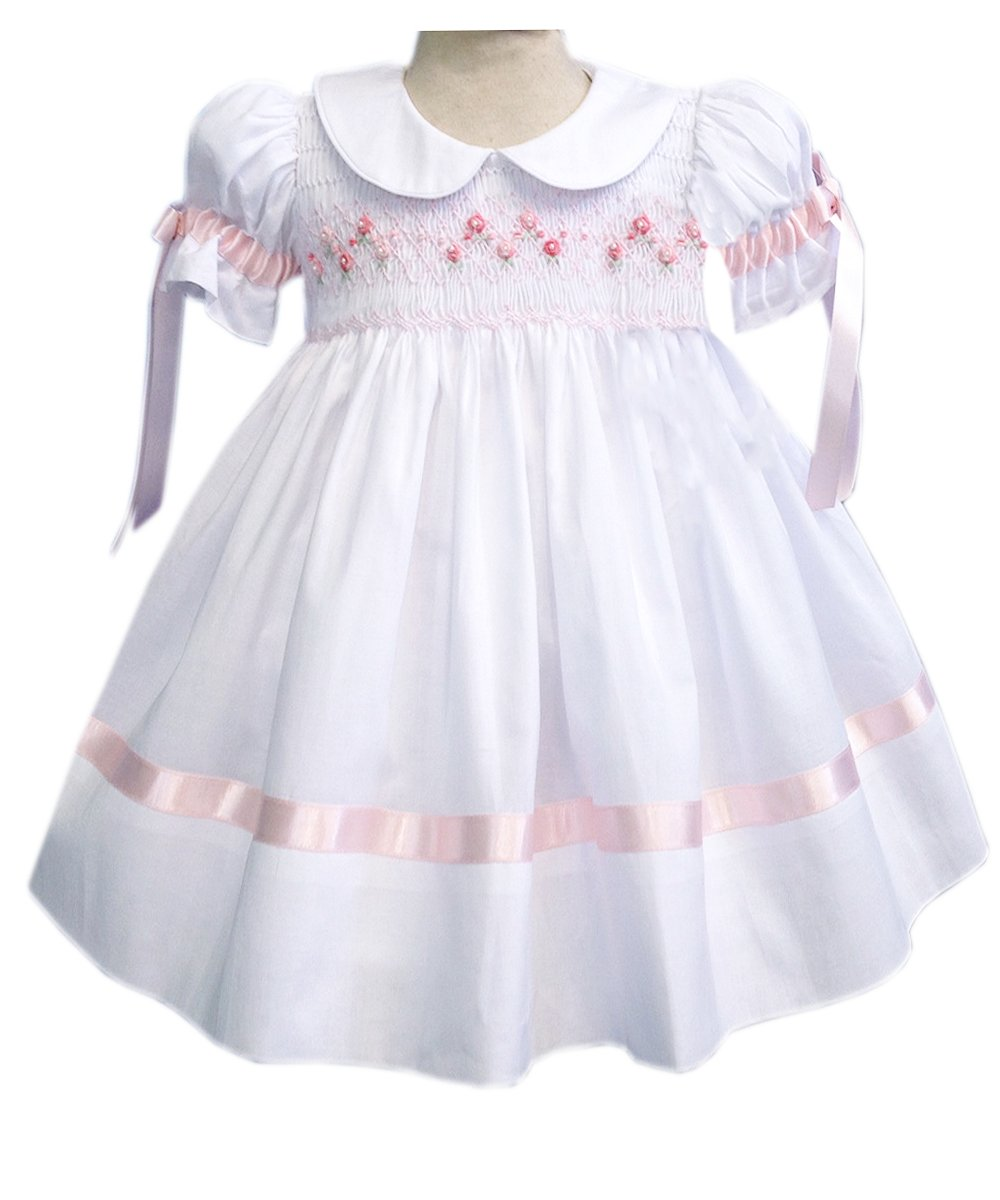 Carouselwear White Girls Heirloom Dress With Pink Ribbons and Hand Smocking Easter Dress