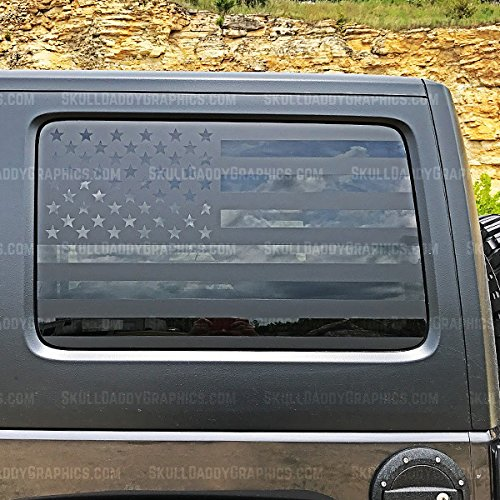 JKU JK Hard top Window Flag Decals Stickers to fit Jeep Wrangler 2007-2017 (JKU Driver Side ONLY) by Skull Daddy Graphics