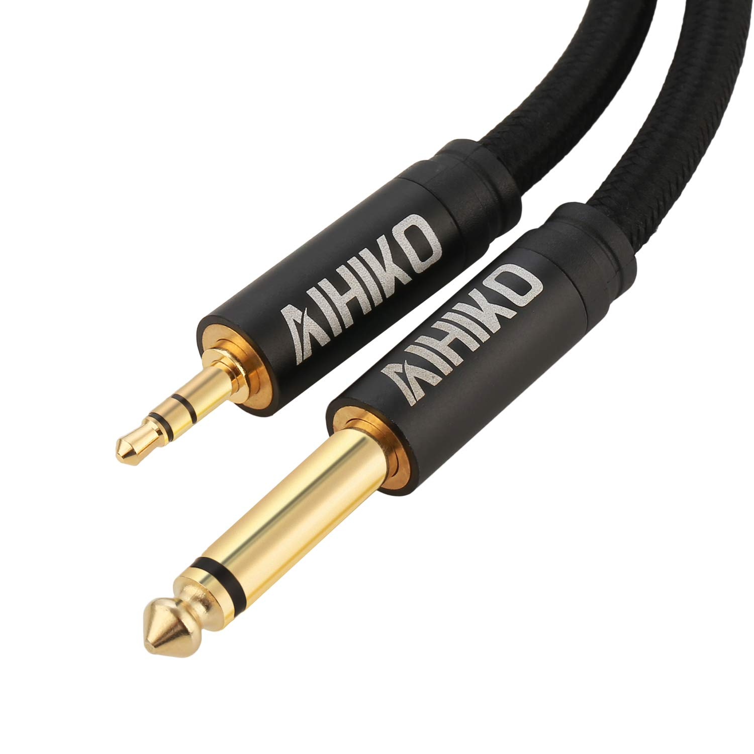 AIHIKO 3.5mm to 6.35mm Audio Cable with Zinc Alloy Housing and Gold Plugs Nylon Braid Stereo 1/4-inch to 1/8-inch Jack Cord for Phone, Laptop, Home Theater Devices and Amplifiers - 6 Feet Black BL63-2M