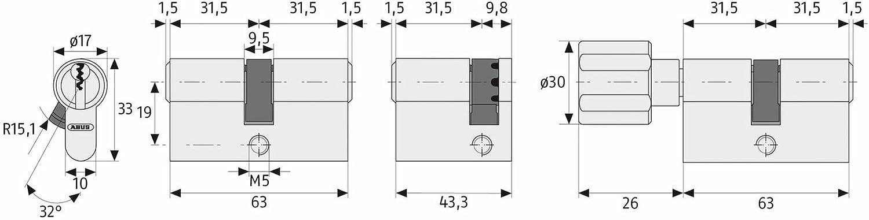 ABUS Profilzylinder KXP10NM Z40//K45 inklusive 3 Schl/üssel 01222