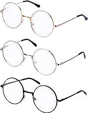 Shopready Metal Frame Round Glasses Set of 3 Clear Lens Glasses Lightweight Circle Eyeglasses for Women Men