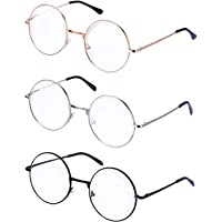 PLAY BLING Metal Frame Round Glasses Set of 3 Clear Lens Large 2 Inches Lightweight Circle Eyeglasses for Women Men…